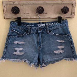 Classic distressed stone wash denim Volcom shorts